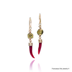 My Lucky Day Earrings in gold, red coral with vintage brass beads from Africa.