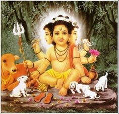 Lord Dattatreya is considered one of the lords of Yoga in Hinduism. Find a collection of Dattatreya images, photos and HD desktop / mobile wallpapers here. Shiva Hindu, Shri Ganesh, Shiva Shakti, Hindu Deities, Hindu Art, Hanuman, Shiva Yoga, Durga Maa, Durga Goddess