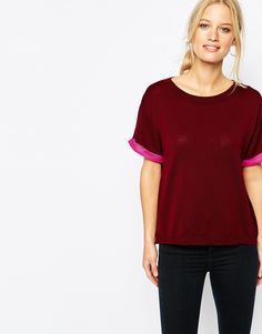 Image 1 ofShae Short Sleeve Knit T-Shirt With Pink Arm Trim