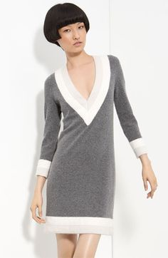 """rag & bone 'Dean"""" contrast trim sweater dress.  I like the contrast of the colors and the fact that my kid self used to draw characters wearing this exact style, but in navy.  It lets me pretend I was a budding fashionista."""