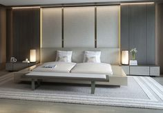 Super stylish #modern bedroom with #upholstered wall behind bed