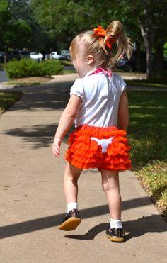 Longhorn ruffle shorts for little girls. $30.00, via Hadley Bear Designs' Etsy site. Eeeee so cute Kasey :)