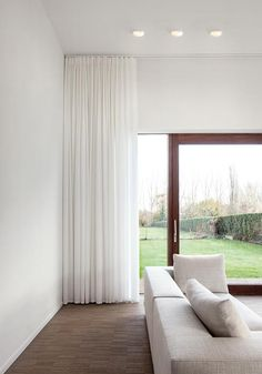 The Cool Curtains From Ceiling To Floor Decorating with Smart Lighting Family Supermodular Living Room Lighting 11274 above is one of pictures of home deco Floor To Ceiling Curtains, Home Curtains, Curtains Living, Curtains With Blinds, Modern Curtains, Contemporary Curtains, Sheer Curtains Bedroom, Drapery, White Linen Curtains