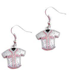 Boston Red Sox Women's Glitter Jersey Dangle Earings