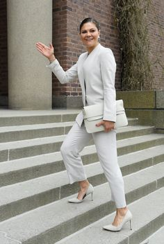 14 May 2017 - Princess Victoria attends SDGs meeting in Stockholm - suit by J. Lindeberg, shoes by Malene Birger