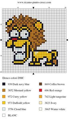 animaux - animals - lion - point de croix - cross stitch - Blog : http://broderiemimie44.canalblog.com/