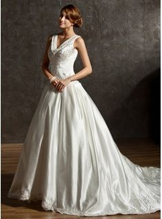 Ball-Gown V-neck Chapel Train Satin Wedding Dress With Embroidered Beading Sequins (002011506) - JJsHouse