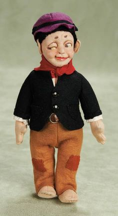 "View Catalog Item - Theriault's Antique Doll Auctions  . Italian Felt ""Barefoot Winker"" by Lenci in Original Costume,with Silver Lenci Button"
