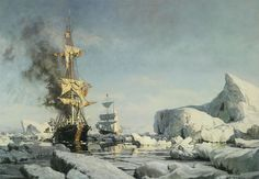John Stobart Signed Limited Edition Print - Arctic Whaling, Cutting In, Amoung The Floes :: :: Vallejo Demo Arctic Landscape, Old Sailing Ships, Duck Art, Military Diorama, Nautical Art, Classic Paintings, Realism Art, Classical Art, Tall Ships