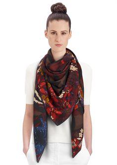 "2015 FW   Tyger Tyger   Cashmere and silk shawl, 55"" x 55"" (70% cashmere, 30% silk)   Alice Shirley   Ref: 242958S 14 Bleu Nuit/Acajou/Prune   US$1,100"
