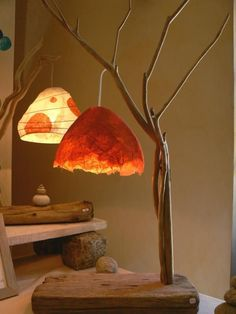 How to make papier mache - recipe and several deco projects # Luminaria Diy, Driftwood Lamp, Paperclay, Small Trees, Paper Lanterns, Lamp Shades, Home Lighting, Tree Branches, Origami
