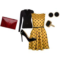 I just love the black and gold combo-- with the red clutch of course