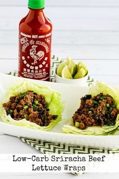 Low-Carb Sriracha Beef Lettuce Wraps are one of my favorite things to make for a quick dinner! These spicy lettuce wraps with beef are absolutely delicious, and the recipe is low-carb, gluten-free, dairy-free, and South Beach Diet friendly. And with a few easy ingredient switches this recipe can be Paleo or Whole 30 as well! [found on KalynsKitchen.com]
