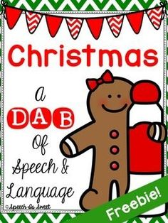 Christmas: A Dab of Speech and Language Freebie! NO PREP pages for articulation and language.