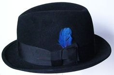 7 1/8 Vintage Black Manhattan Mens Fedora Hat by marvita13, $98.00