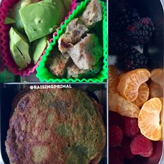 Paleo pancake, avocado, fresh fruit, chicken and apple sausage