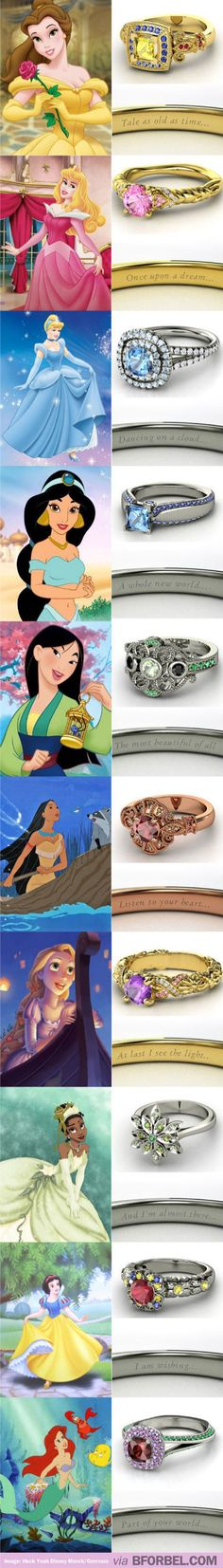 Disney Princess Inspired Wedding Rings… Love Cinderella's!