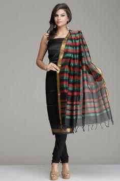 Classic Black Mangalagari Silk Cotton Unstitched Suit With Gold Zari Work And Striped Salwar & Dupatta