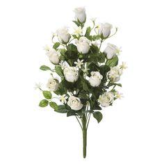 Ramos Todos los Santos. Ramo de cementerio con flores artificiales. Compuesto de rosas blancas con florecillas y hojas de relleno. Ramas alambradas. Alto 51 cms