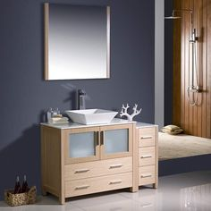 """Fresca Torino 48"""" Light Oak Modern Bathroom Vanity w/ Side Cabinet & Vessel Sink"""