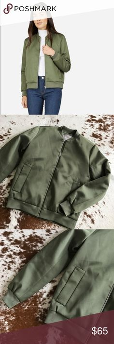 Everlane E2 bomber jacket olive green XS Love this jacket but it's too small 😭 gorgeous olive green color. Subtle shine to the fabric and lightly filled for warmth. Silver zipper and pockets. Only tried on a couple times and in excellent condition. Everlane Jackets & Coats Utility Jackets