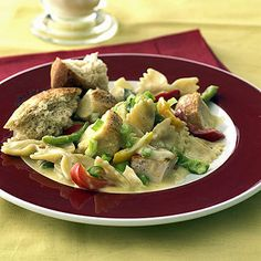 Chicken Supreme Casserole        Frozen stir-fry veggies and chicken make this a quick dish to prepare (and frozen veggies are usually cheaper than fresh). Sweet peppers also make it high in vitamin C.