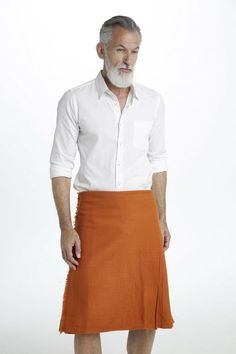 Saffron Tartan Kilt gets its name from the dark, yet vibrant orange color that it boasts, taking on the same color as natural saffron. Guys In Skirts, Boys Wearing Skirts, Kilts For Sale, Modern Kilts, Man Skirt, Scottish Kilts, Tartan Kilt, Leggings, Tights