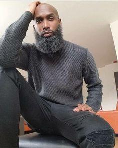 Black is Beautiful Fine Black Men, Gorgeous Black Men, Handsome Black Men, Fine Men, Black Man, Beautiful, Bald With Beard, Bald Men, Beard Styles For Men