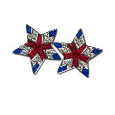 Crystal & Enamel Star Earrings - Elegant Star with Red and Blue Enamel and Diamond-like Swarovski Crystals. (Pierced Only).  Price: $17.50 #patriotic earrings #star earrings #patriotic star earrings http://www.starsandstripesproducts.com/crystal-enamel-star-earrings/