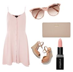 """""""Brown unicorn"""" by vloughlin ❤ liked on Polyvore featuring Schutz, Victoria Beckham, Topshop, Kate Spade and Smashbox"""