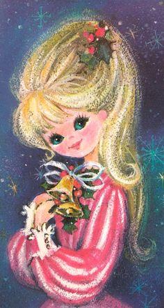 Vintage Greeting Card Christmas Girl Bells Mod Retro Glitter 1960s Mid Century   eBay