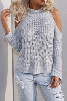 Turtleneck Long Sleeve Cutout Sweater GRAY: Sweaters | ZAFUL