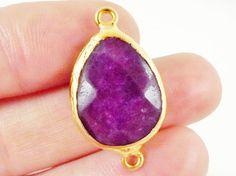 Purple Teardrop Jade Connector   22k Matte Gold by LylaSupplies, $6.20