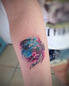 Pug tattoo watercolor