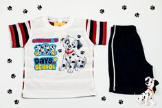 Set of white T-shirt and black shorts with Dalmatian print. Will keep your baby boy the happiest little prince ever! The material is 100% cotton and the color after washing stays the same. But most important is that these T-shirt and shorts are easy to wear and easy to pay.