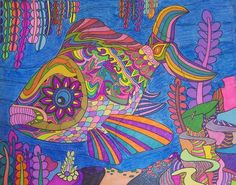 ColorIt Colors of Ocean Colorist: Robyn Martinsen Voorhis Creation Coloring Pages, Adult Coloring Pages, Coloring Books, Underwater World, Big Fish, Neon Colors, Submissive, Create Your Own, Ocean