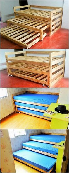 Have a look at this outstanding wood pallet bunk bed design! It might appear. It is much designed in simple way to make it look mesmerizing for others. You will view the stacking arrangement of the wood pallet planks on top of it in the three divisions of Pallet Bunk Beds, Beds On Pallets, Diy Bett, Bunk Bed Designs, Kids Bunk Beds, Lofted Beds, Into The Woods, Loft Spaces, Wooden Pallets