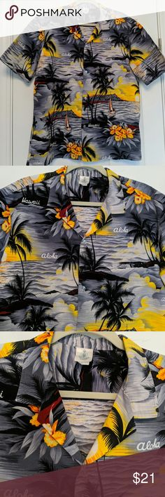 f69d8e62 Men's Vintage Hawaiian Shirt XL Short sleeve Hawaiian shirt in gray, black,  orange and yellow print. White buttons down the front.