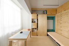 Fold-Out Bed in Birch Artist's Studio by Raanan Stern in Tel Aviv, Remodelista