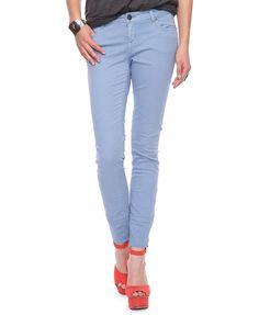 Life in Progress - Zipped Twill Pants, Light Blue Orange Heels, Light Blue Pants, Twill Pants, Pretty Shoes, Colored Jeans, Pants For Women, Capri Pants, Skinny Jeans, Pastel Blue