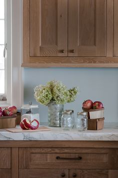 Close up of cabinets custom made in white oak with a limed wood finish. ~ Jane Beiles Photography