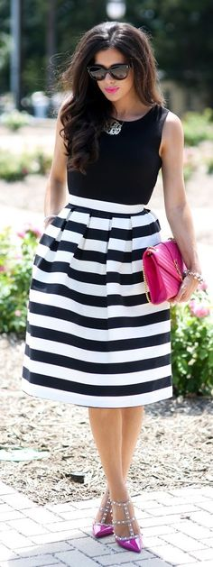 Black And White With Pop Of Pink Preppy Girly Outfit Idea by The Sweetest Thing