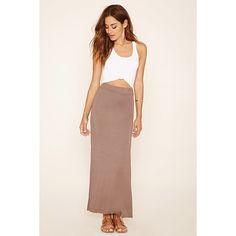 Forever 21 Women's  M-Slit Maxi Skirt ($8) ❤ liked on Polyvore featuring skirts, forever 21 skirts, floor length skirt, slit skirt, long skirts and pink maxi skirt