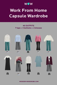 These 40 outfit ideas for home office capsule wardrobe go beyond the business capsule wardrobe. They consist of comfortable clothes for working from home. You will also find here some nice outfit ideas for fall and winter.
