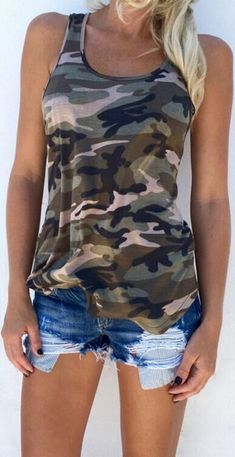 226fd48aac Hot Style Off-The-Shoulder Camouflage Small Vest