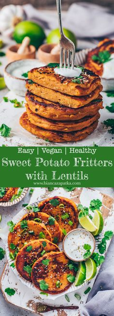 These easy vegan mashed sweet potato and lentil cakes are simple savory patties (fritters) that are crispy from the outside and soft from the inside! The (gluten-free) recipe requires basically just 4-ingredients seasonings, and it's perfect to make ahead - then you'll have the perfect lunch, dinner, appetizer or side dish in only a few minutes!