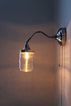 City Lights -Industrial Stainless Steel Gooseneck Wall Sconce - Clear Glass Lamp Shade - UpCycled BootsNGus Lighting Fixture on Etsy, $50.00
