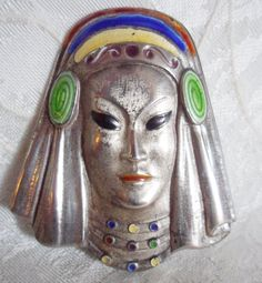 Vintage TRUART Sterling Face BROOCH by JleCROW on Etsy