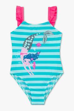 Kinder - Badeanzug - gestreift - türkis One Piece, Turquoise, Swimwear, Tops, Fashion, Ruffles, Young Women, Swimsuit, Stripes