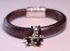 Metallic Burgundy Licorice Leather bracelet by OllieBooJewelry, $40.00#crafyab #ollieboojewelry #YEG #Leather #Metallic #swarovski